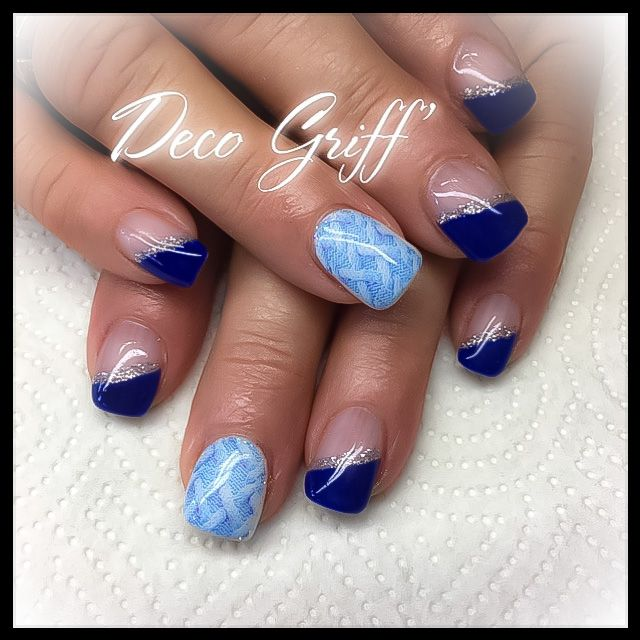 deco hivernale french bleu nail design effet pull ongle deco griff 39 pinterest french bleu. Black Bedroom Furniture Sets. Home Design Ideas