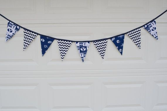 BYU - Brigham Young University Pennant Banner - 9 Large Flags - Blue