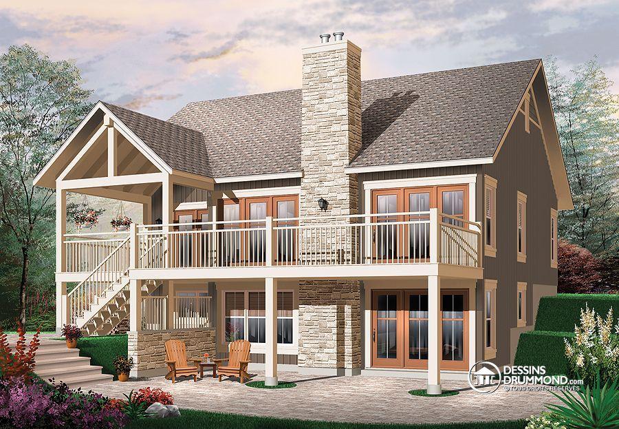 Plan de Maison unifamiliale W3941, Maison genre « chalet » quatre - plan de maison sur terrain en pente