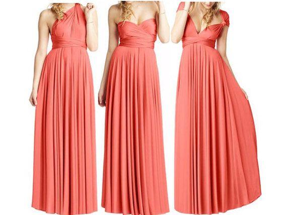 Coral Summer Dress Convertible Dress Infinity Dress Multiway Dress