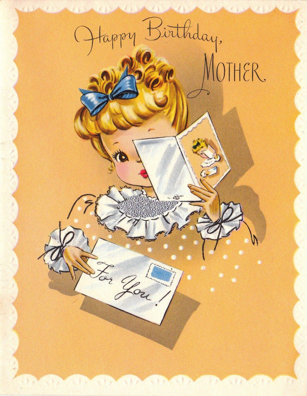 Happy Birthday Mother  Vintage birthday cards, Vintage greeting