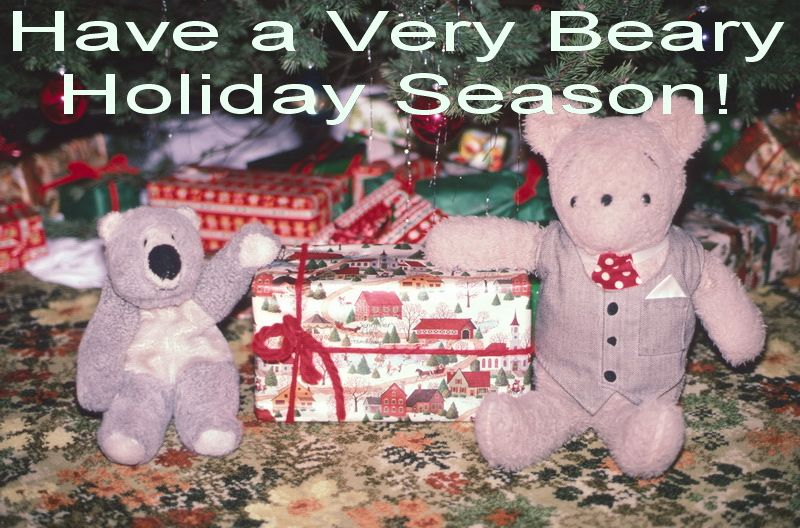 """Kuma and Goofy just finished sending out the 2012 Holiday Greeting cards for One Thousand Bears Project this week.  They wanted to post their card here to say """"Thank You!"""" to everyone who follows One Thousand Bears Project on Pinterest.  All the bears appreciate your taking the time to view our photos.  They offer their best wishes to you for a """"Really Keen 2013"""". (It rhymes, they said.)"""