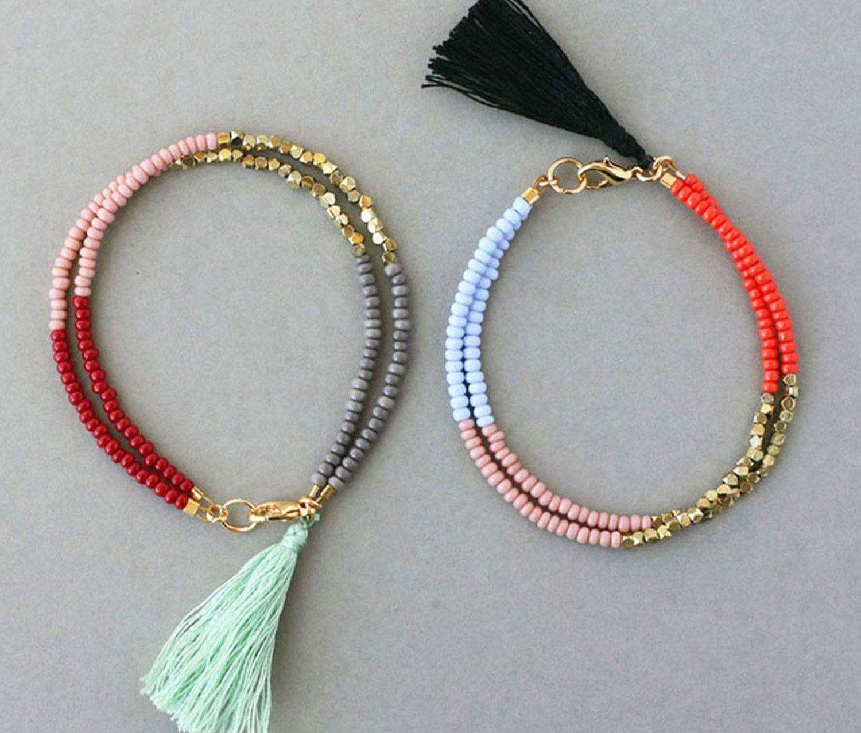 Boho seed bead bracelet with tassel friendship bracelet
