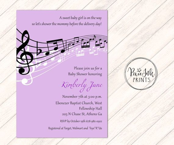 Purple Music Notes Baby Shower Invitation by PixieInkPrints