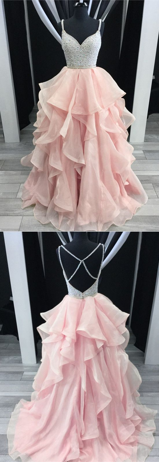 Charming beading vneck cross back pink prom dresses ball gowns