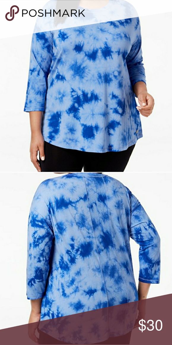 d49bbeb0e34 Calvin Klein 1X Blue Tie Dye Drop Shoulder Top Calvin Klein Performance  Active Wear New with tags Size 1X Calvin Klein Tops Blouses