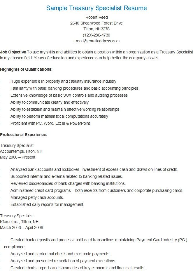 Sample Treasury Specialist Resume resame Pinterest
