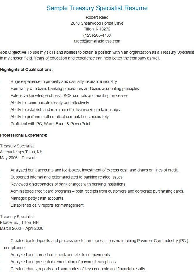 Sample Treasury Specialist Resume Sample Resume Resume Sample