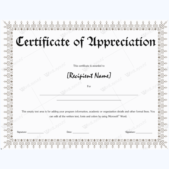 Certificate Of Appreciation Wording Examples – Certificate of Appreciation Wordings