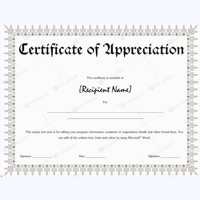 Certificate Of Appreciation Wordings appreciationword – Certificate of Appreciation Wordings
