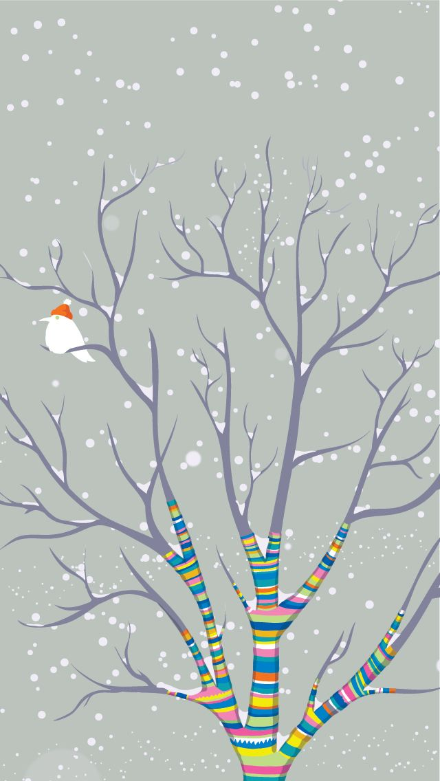 Bundled Up For Winter By Artist Katya Volodina Sweater Tree Bird Snow Iphone Wallpaper Winter Cool Iphone 5 Wallpapers Ipad Wallpaper