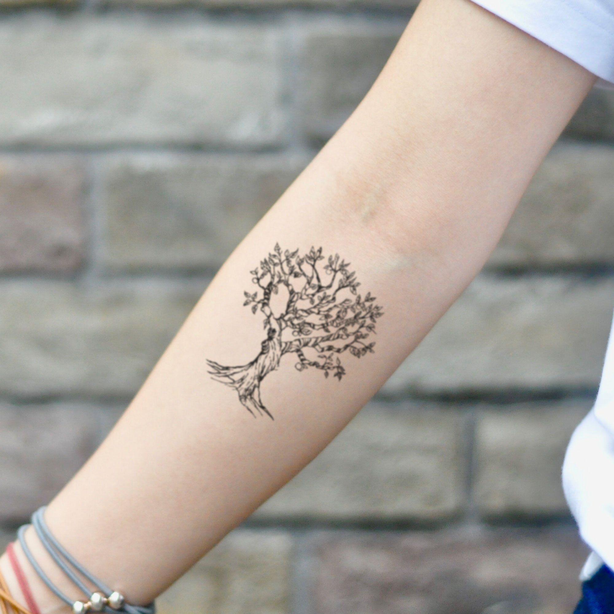 Apple Tree Arbol Temporary Tattoo Sticker (Set Of 2