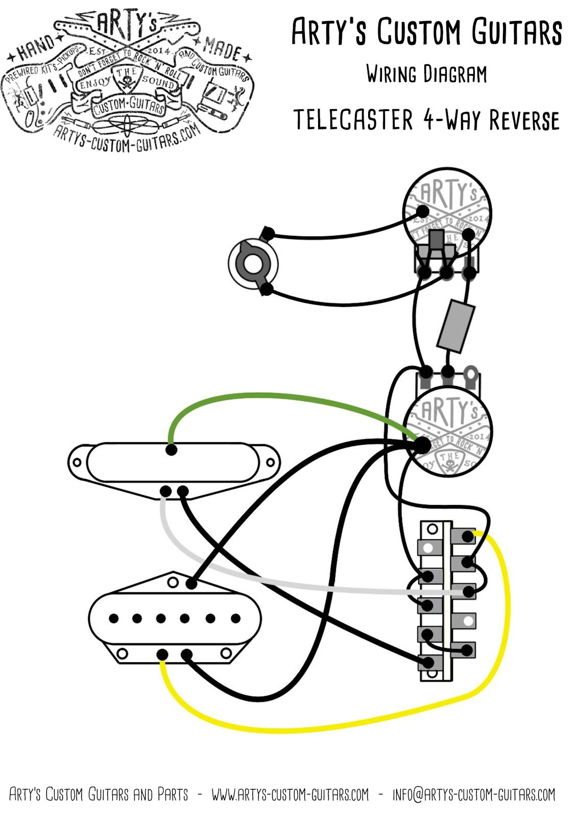 arty s custom guitars 4 way reverse control premium vintage pre wired prewired kit wiring assembly harness artys tele telecaster [ 1132 x 1600 Pixel ]