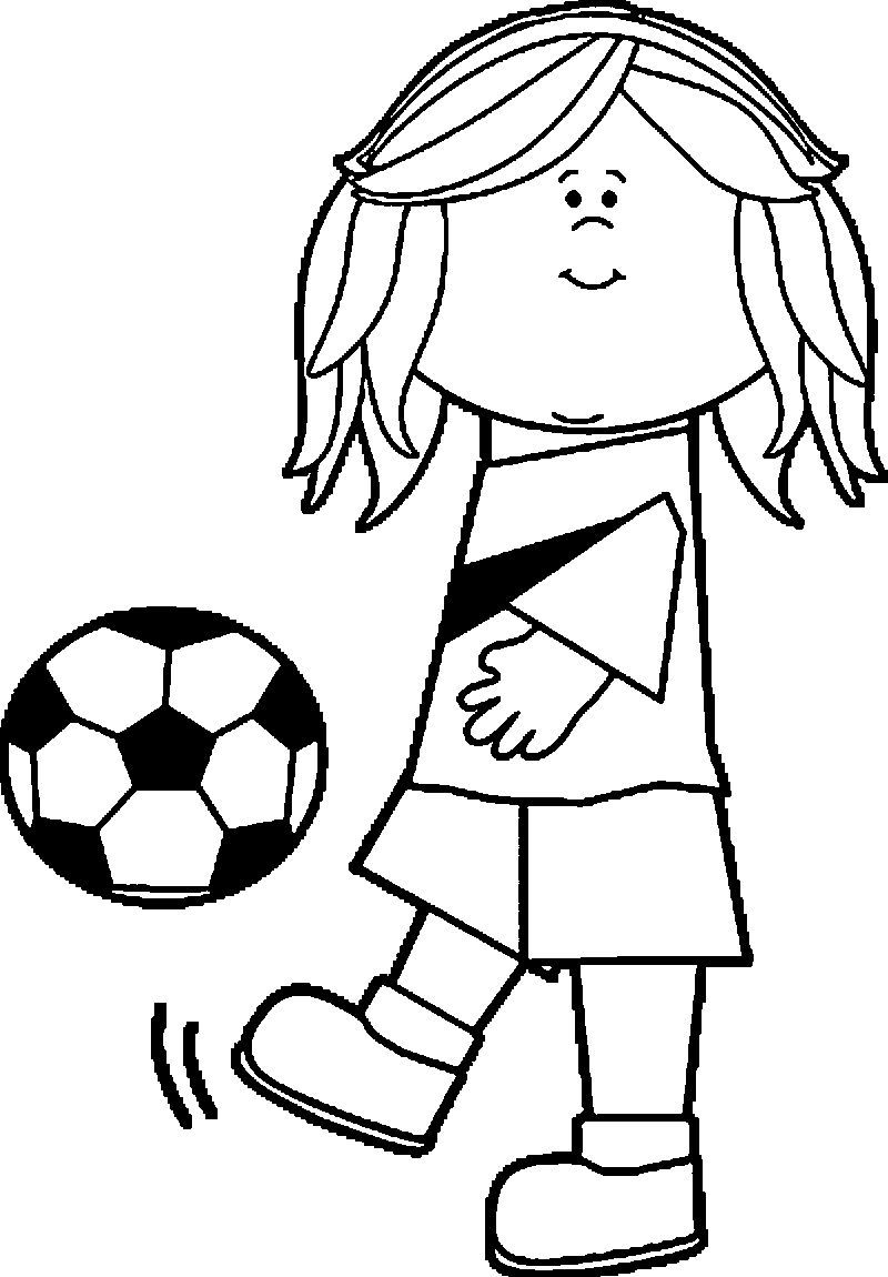 Soccer Girl Playing Football Coloring Page