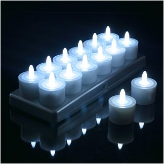 Set Of 12 Restaurant Quality Rechargeable Tea Lights; Flickering White LEDs  WITHOUT Glass Holders,
