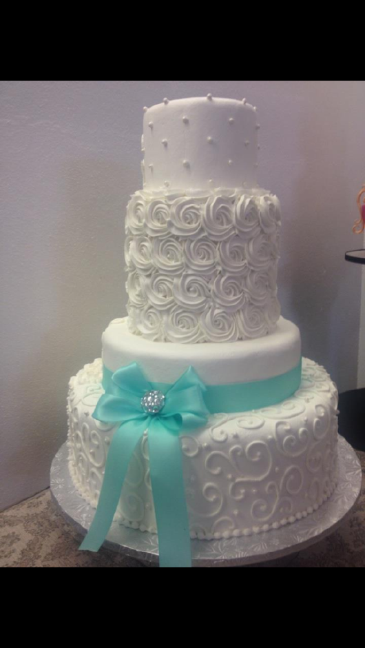 Bridal cake- change ribbon to match wedding colors- mint green/brown