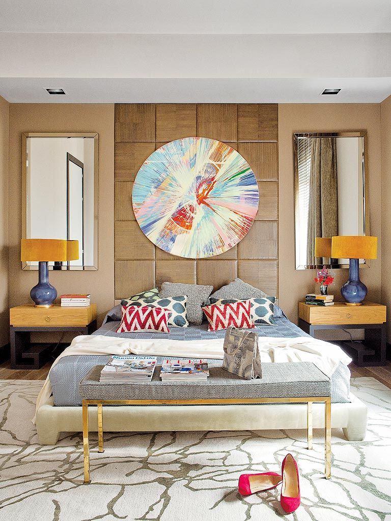 Funky yet polished bedroom with spin art luxury furniture Funky bedroom accessories
