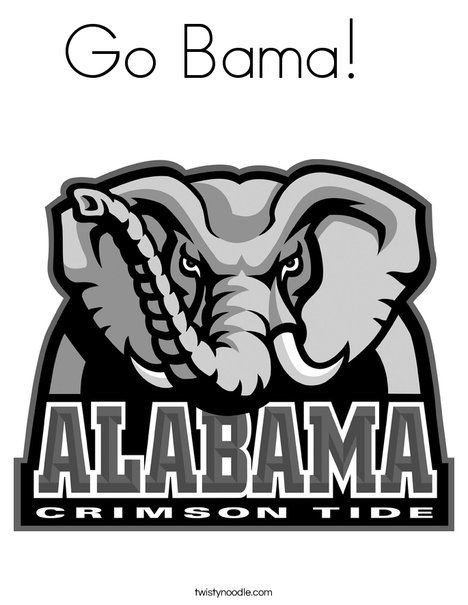 Go Bama Coloring Page From Twistynoodle Com Alabama Logo Alabama Crimson Tide Crimson Tide Football