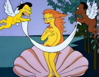 Simpsons parody of Botticelli's Birth of Venus with Mindy modeling.