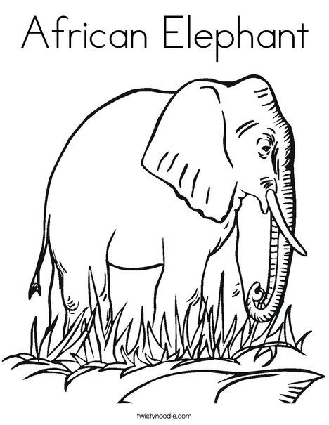 African Elephant Coloring Page - Twisty Noodle | 5 in a Row ...