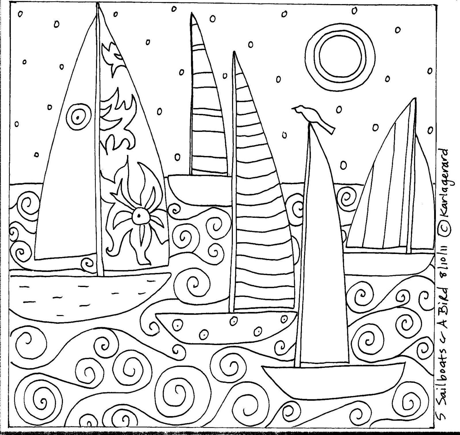 Rug Hook Paper Pattern 5 SAILBOATS & A BIRD Folk Art Abstract Primitive KARLA G #paperpatterns