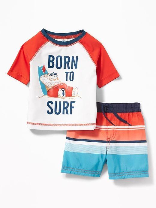 67177b8c86afd Old Navy Babies' Graphic Rashguard & Swim Trunks Set Born To Surf Regular  Size 3-6 M