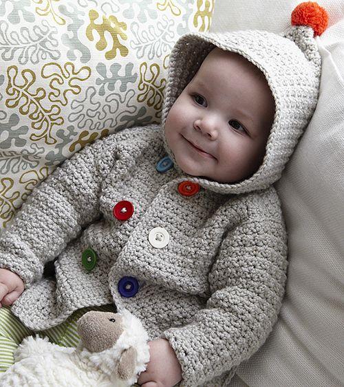 Cosy Hooded Baby Jacket Crochet Pattern (FREE) - http://pinterest ...