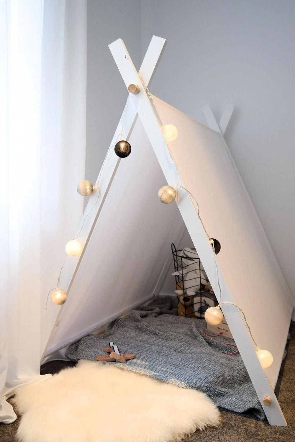 12a38258eb086 How sweet is this white and dowel timber kids play tent  Perfect for a  unisex