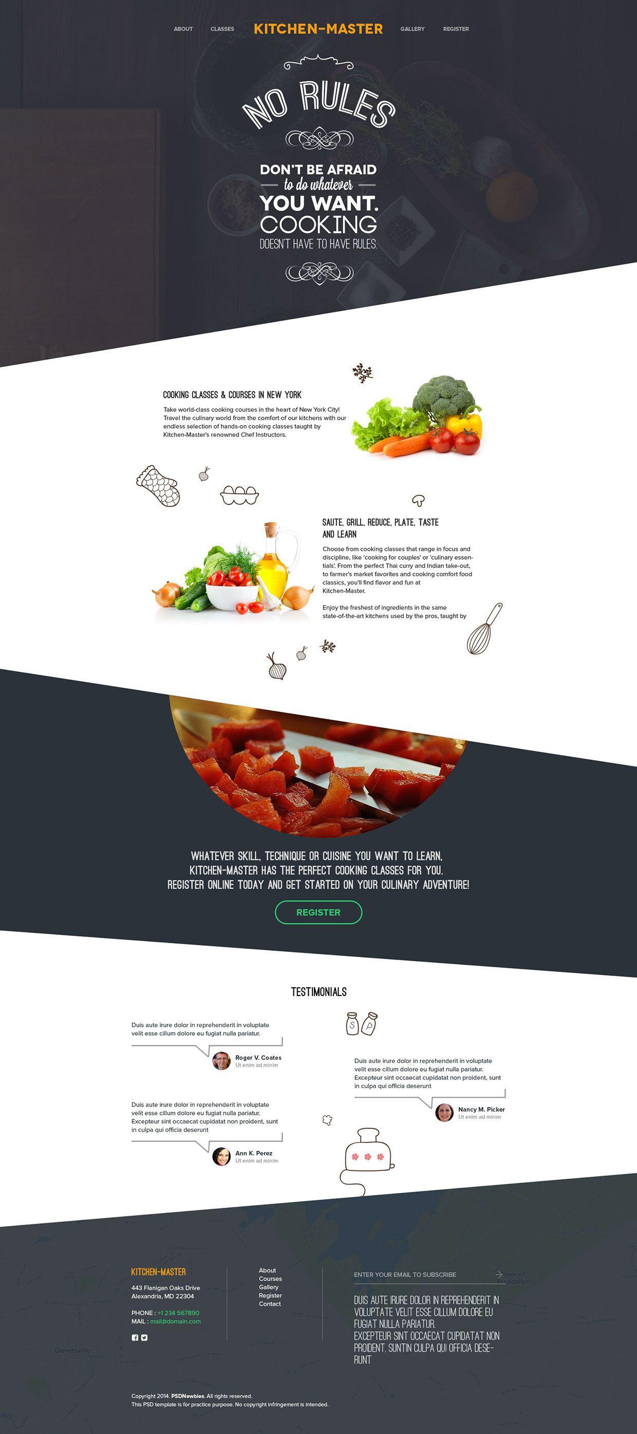 kitchen master free psd on behance inspiration web pinterest