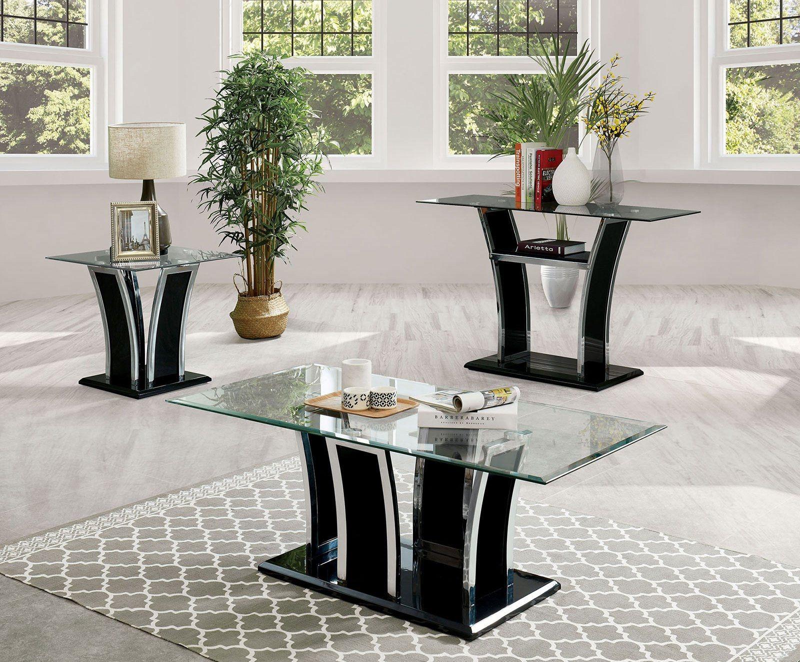 Furniture Of America Staten Black Glass Top Chrome Trim