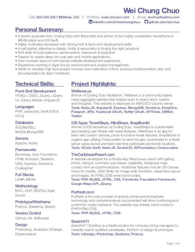 Wei Chung Chuo Front End Developer Resume 1 638 Jpg 638 826 Resume Template Web Design Jobs Resume