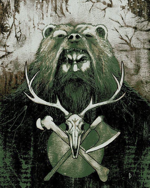 The Berserker Viking Art Norse Viking Skull Art