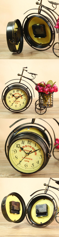European quartz home decoration tricycle iron art table clock ...