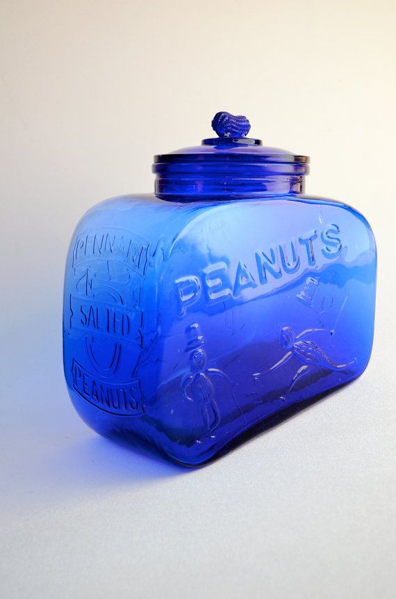 Cobalt Blue Glass Mr Peanut Cannister With By Acostaartanddesign 44 00 Blue Glass Jar Blue Glass Cobalt Blue