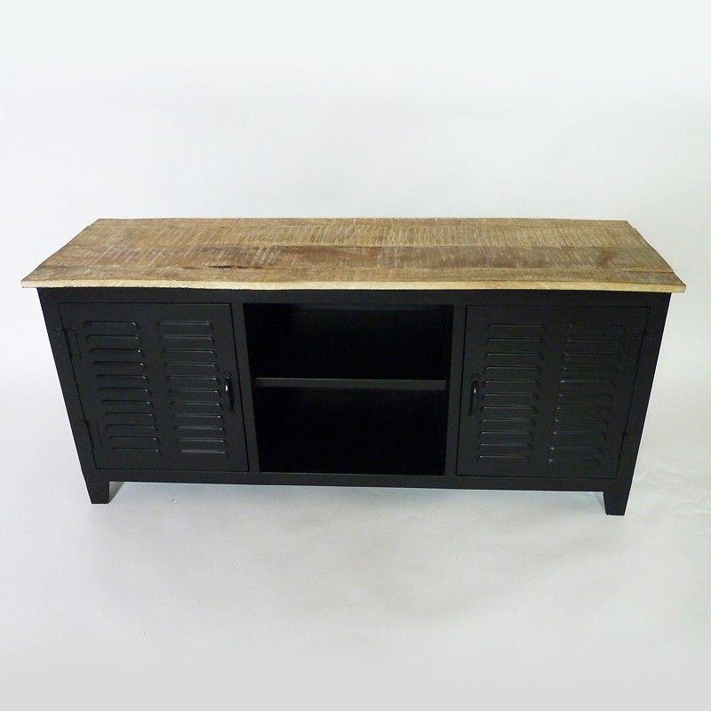 Meuble TV industriel en métal et bois blanchi Buffet, TVs and Lofts