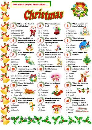 A Quiz About Christmas Esl Worksheets Christmas Quiz Christmas Worksheets Christmas Trivia