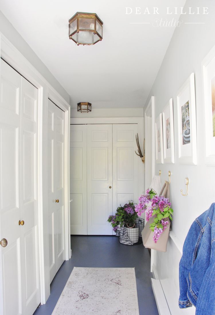 Hallway Makeover For Under $100 At Bluestone Hill   Dear Lillie  Studio Painted Linoleum Floor. Used Benjamin Moore Floor And Patio Low  Sheen (color Steel ...