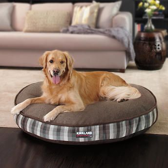 Kirkland Signature 42 Round Pet Bed In Brown Plaid Luxury Pet Beds Washable Dog Bed Durable Dog Bed