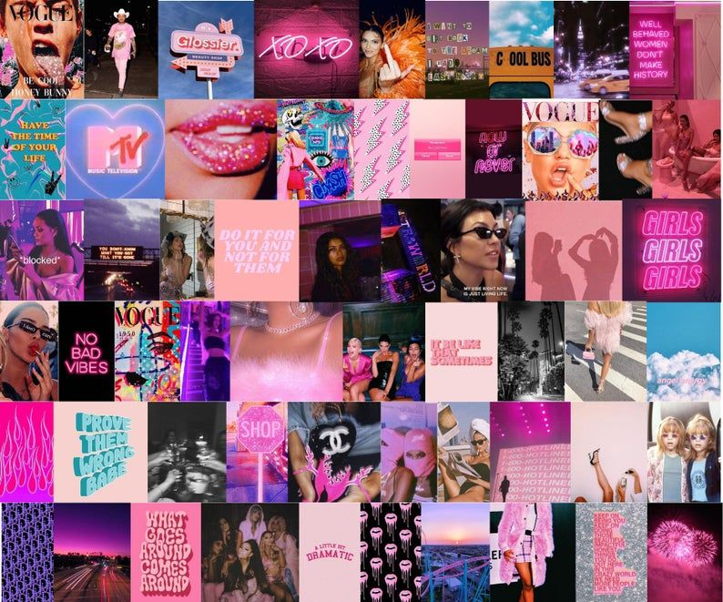 Boujee Aesthetic Wall Collage Kit Digital Download 60pcs Etsy Photo Wall Collage Wall Collage Aesthetic Collage