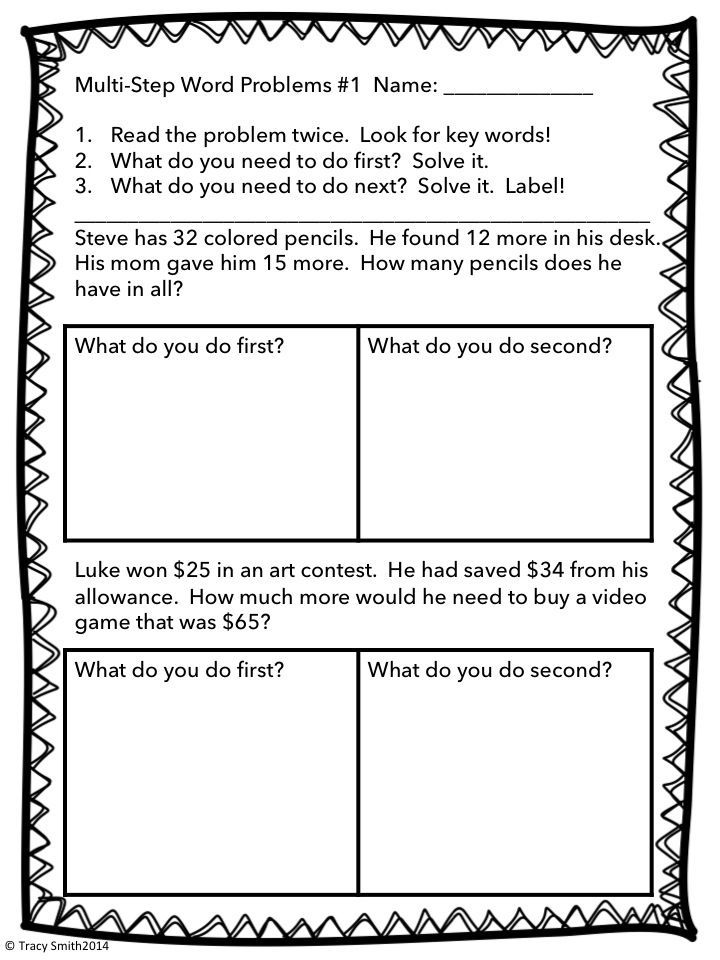 multi step word problems worksheets Termolak – Multiple Step Word Problems Worksheets
