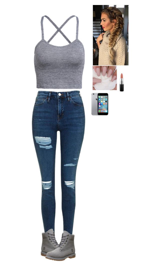 """Hot af"" by glasses1738 ❤ liked on Polyvore featuring Topshop, Timberland and MAC Cosmetics"