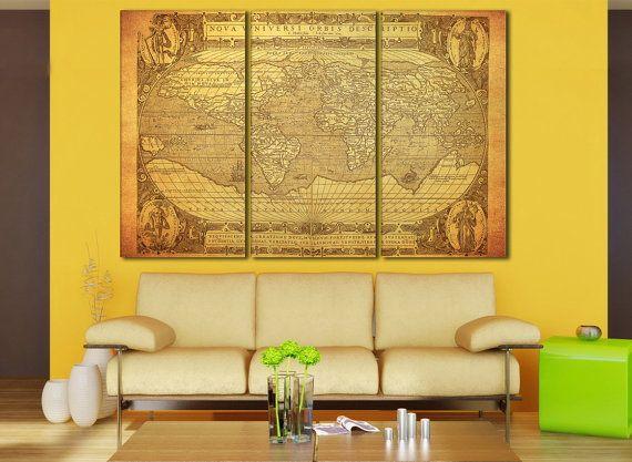 Wall Art, World Map, Large Wall Art, World Map Canvas, World Map ...