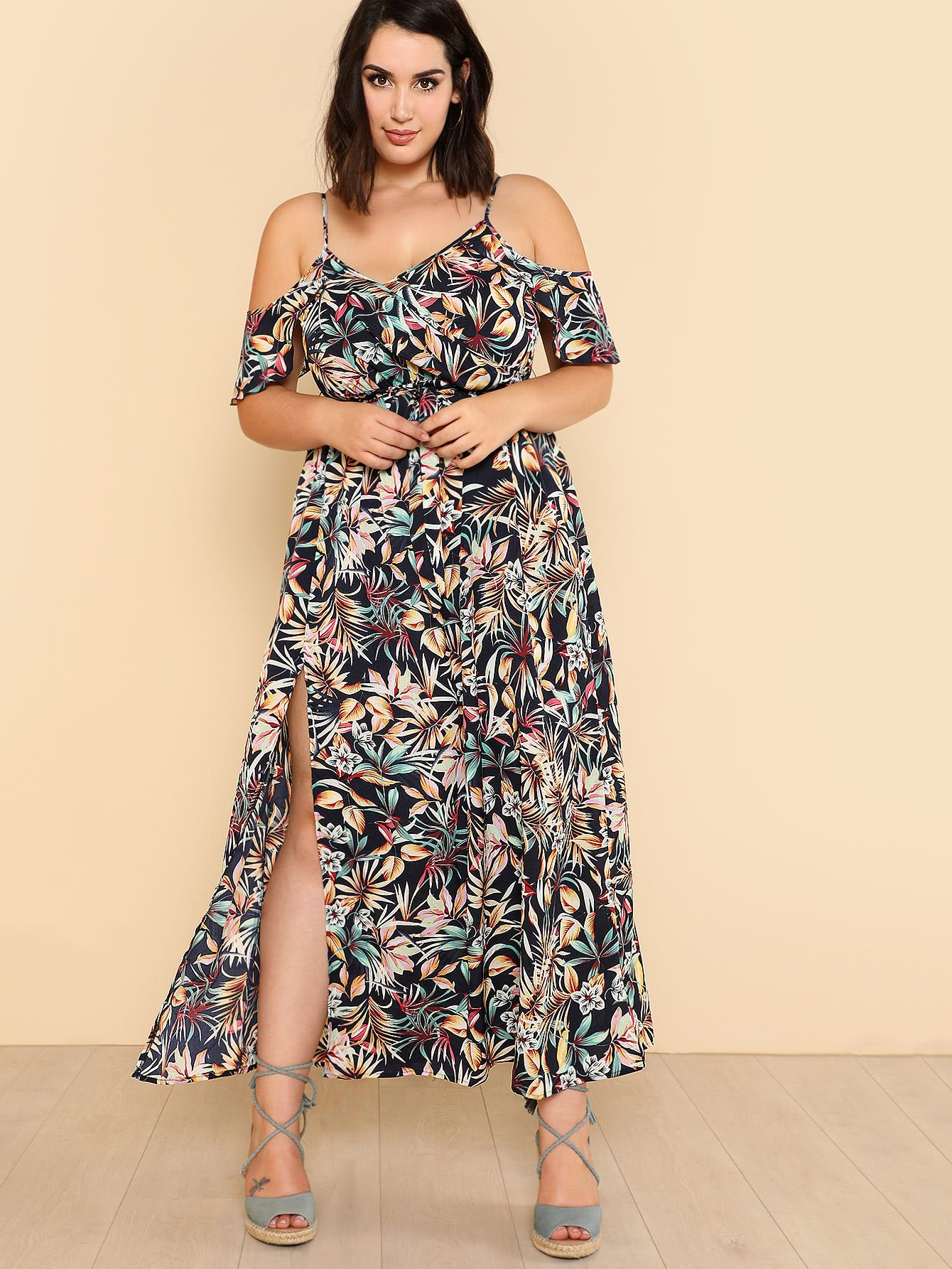468f665cd5 Open Shoulder Tropical Wrap Dress -SheIn(Sheinside) | clothes in ...
