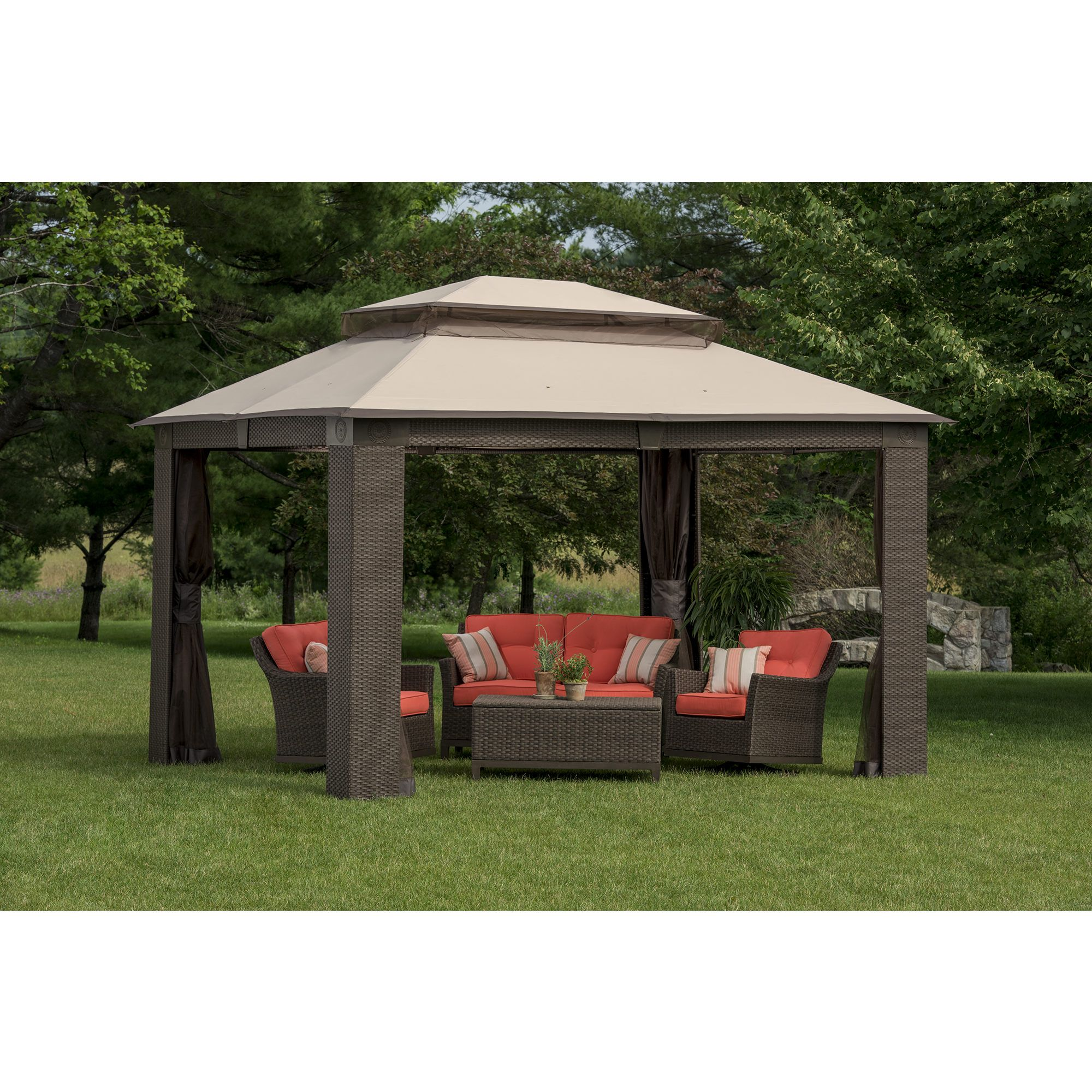 berkley jensen antigua wicker and aluminum gazebo bjs wholesale