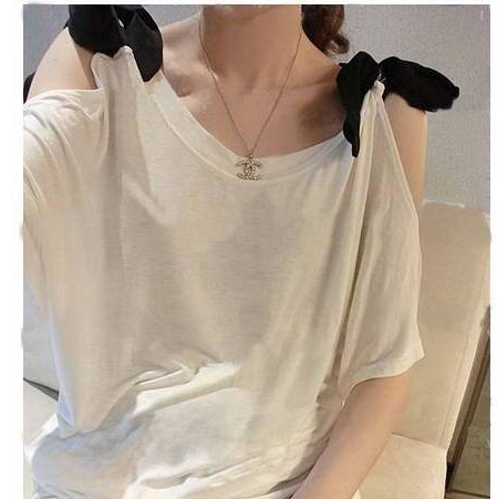 bow on shoulder T-shirt loose bottoming shirt