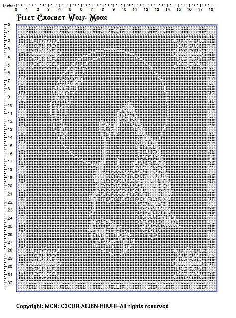 Filet crochet wolf-moon pattern by Viktoria-Lyn | Tiger löwe, Häkeln ...