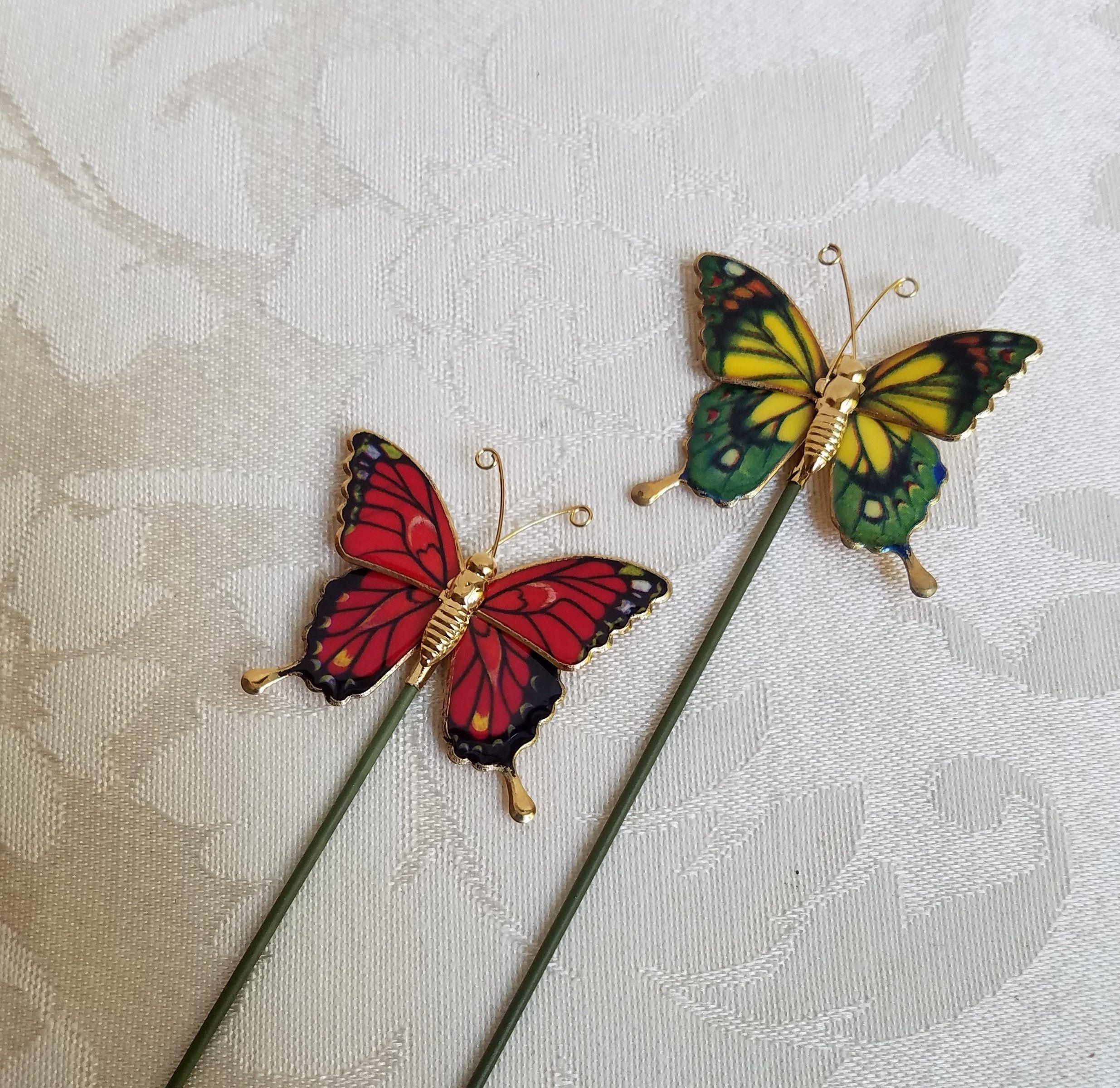 Vintage Butterflies Enamel Metal Plant Stakes By Interpur 400 x 300