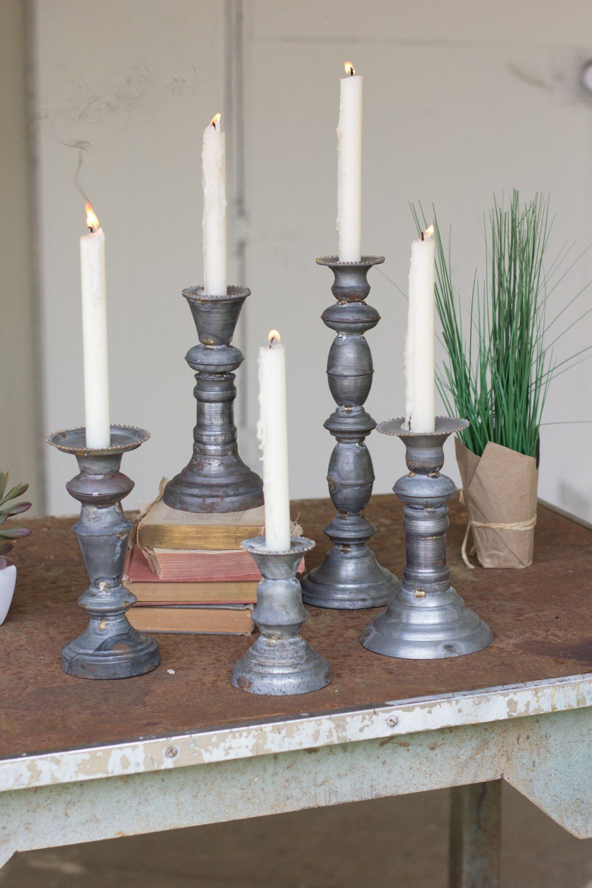 Set Of 5 Zinc Candle Holders With Brass Detail