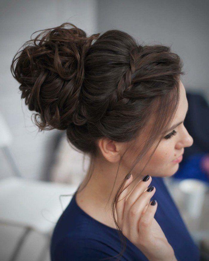 Chignon cheveux long femme