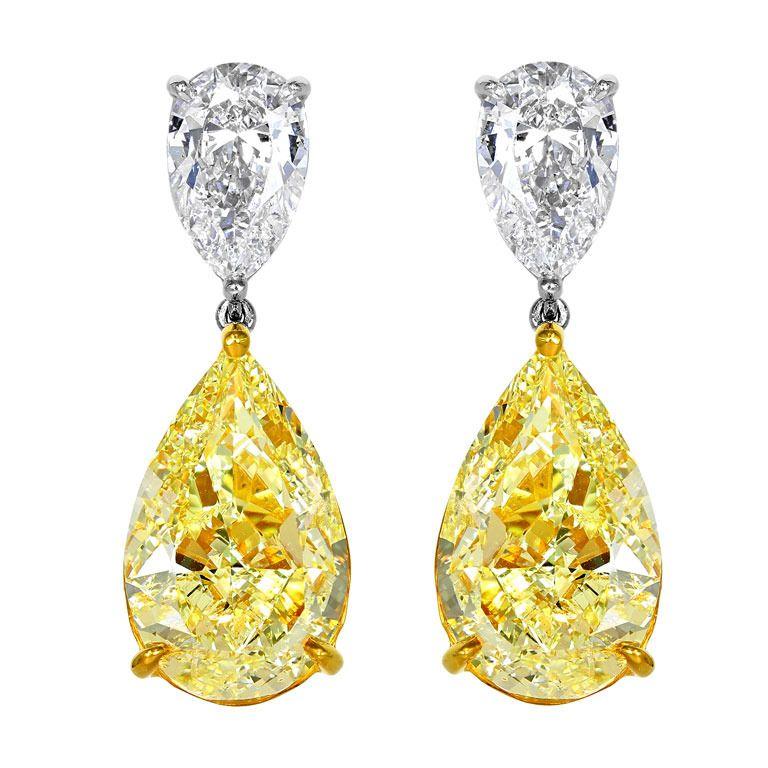 Shreve Crump Low Natural 16 12 Carats Of Yellow Diamond Drop Earrings 1stdibs
